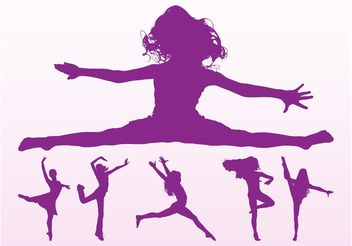 Dancing Girls Silhouettes Pack - Free vector #156353