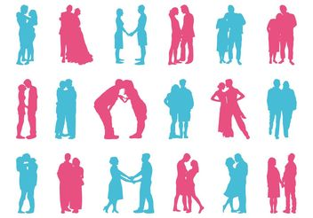 Couples Silhouettes Set - vector gratuit #156363