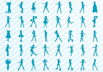 Dancing Girls Silhouette Set - vector gratuit #156373