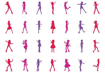 Girls Silhouettes Graphics - vector gratuit #156443