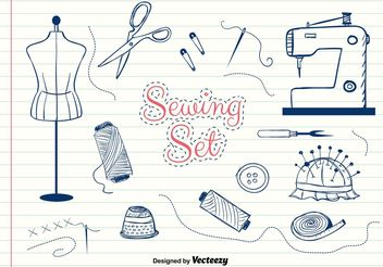 Hand-Drawn Vector Sewing Set - Free vector #156603