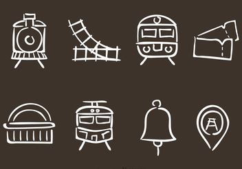 Hand Drawn Railroad Vector Icons - Free vector #156923