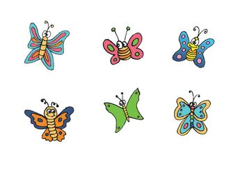 Free Cartoon Butterfly Vector Series - Free vector #156933