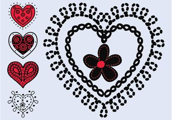 Hand Drawn Hearts - vector gratuit #157113
