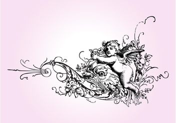 Vintage Cupid And Flowers - Free vector #157133