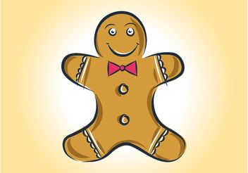 Gingerbread Man Vector - Free vector #157163