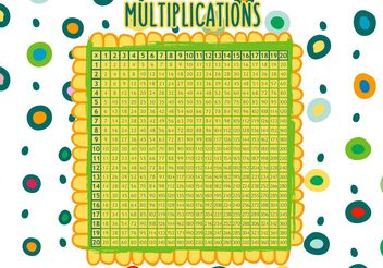 Hand Drawn Multiplication Math Table Vector - vector gratuit #157193