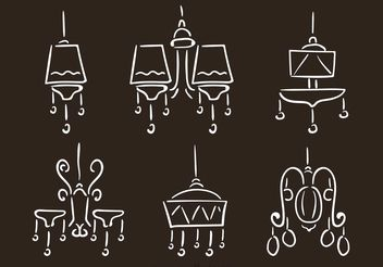 Hand Drawn Chandelier Vectors - vector gratuit #157223
