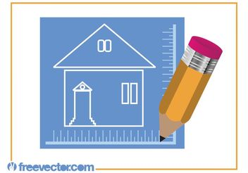 House Blueprint And Pencil - Free vector #157293