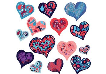Free Doodle Heart Vector Set - Free vector #157573