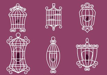 Vintage Bird Cage Vectors with Birds - Free vector #157663