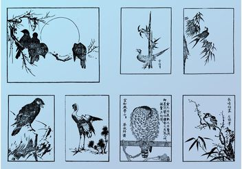 Japanese Birds - Free vector #157703