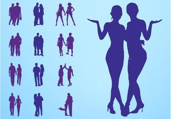 People In Couples Silhouettes - vector gratuit #157973