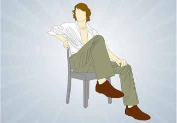 Man Sitting On Chair - Free vector #158043