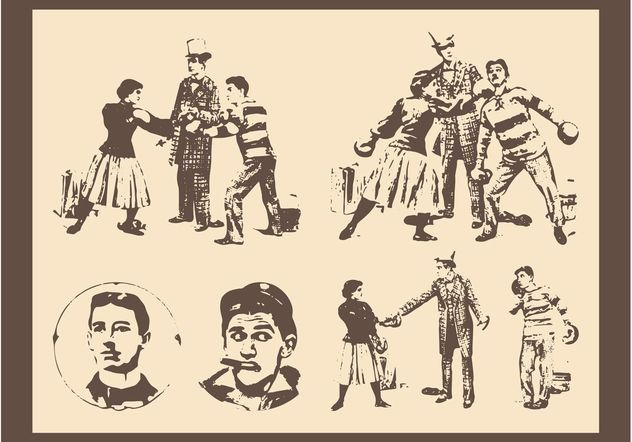 Retro People Layouts - Free vector #158123