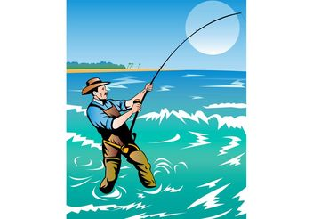 Fishing Man Poster - vector gratuit #158143