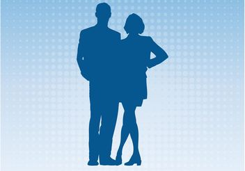 Couple Silhouette - vector gratuit #158153