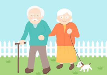 Free Senior Couple Vector Illustration - Free vector #158343