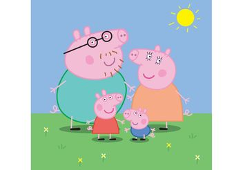 Peppa Pig Family - Free vector #158363