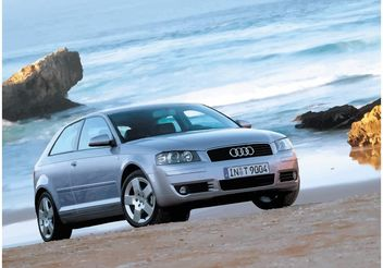 Audi A3 on the Beach - vector gratuit #158393