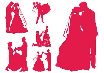 Married Couples Silhouettes - vector gratuit #158403
