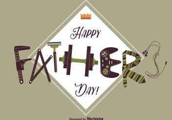 Happy Fathers Day Card - Free vector #158483