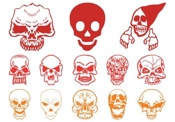 Skull Horror Set - vector gratuit #158693