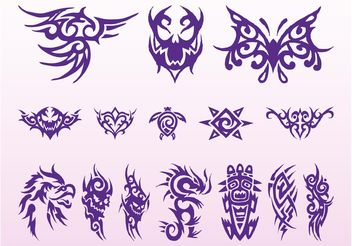 Tribal Tattoos Graphics Set - Free vector #159133