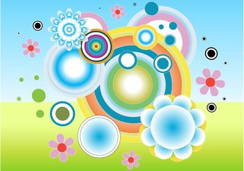 Circles Flowers - vector gratuit #159363