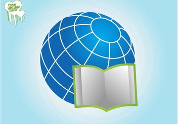 Open Book And Globe - vector gratuit #159673