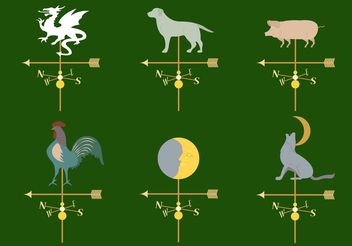 Set of Different Weather Vanes in Vector - vector #159783 gratis