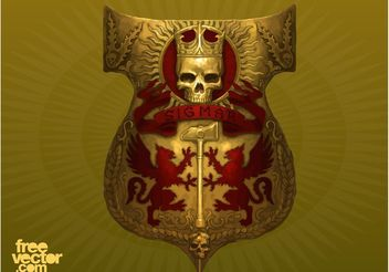 Shield With Skull - Free vector #160113