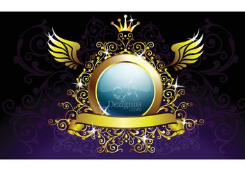 Gold Decoration Shield - Free vector #160153