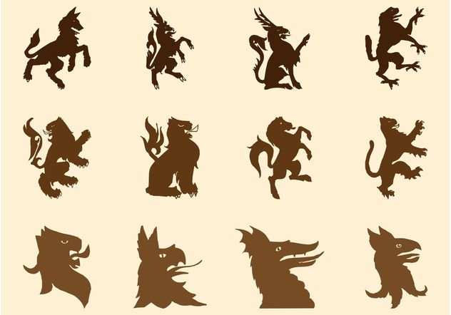 Heraldic Beasts Silhouettes - Free vector #160193
