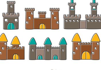Cartoon Castle Fort Vectors - vector gratuit #160363