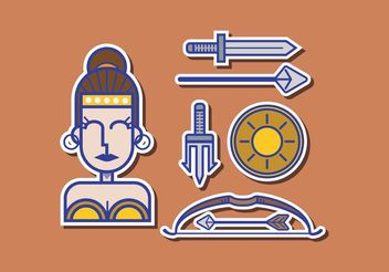 Athena Greek Goddess Vector Pack - vector #160613 gratis