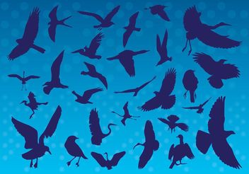 Flying Birds Silhouettes - vector gratuit #160643