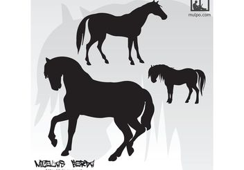 Horses Silhouettes - Free vector #160653