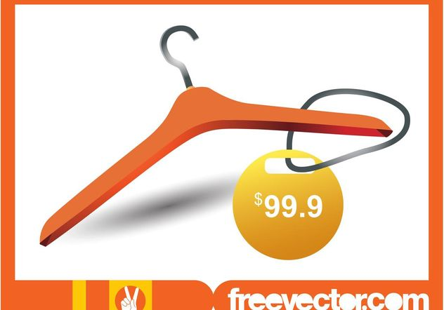 Clothes Hanger And Price Tag - Free vector #160673
