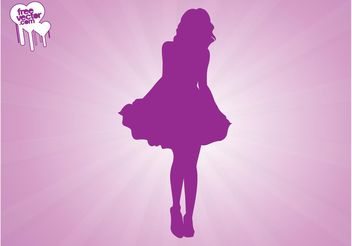 Woman Wearing Dress Silhouette - vector gratuit #160693