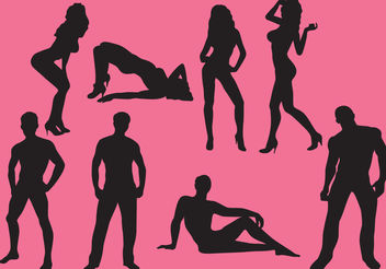 Woman And Man Sexy Silhouettes - Free vector #160783