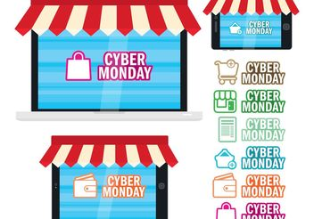 Cyber Monday Digital Shops - Free vector #160813