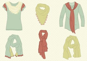 Free Vector Drawn Neck Scarves - Free vector #160883