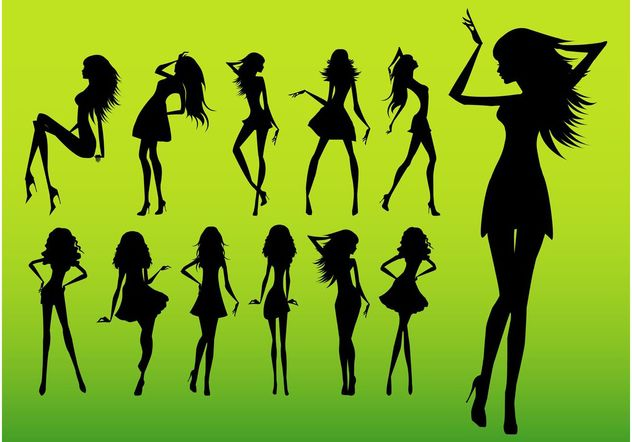 Girl Silhouettes - Free vector #161193
