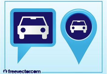 Pointers With Car Icon - Kostenloses vector #161353