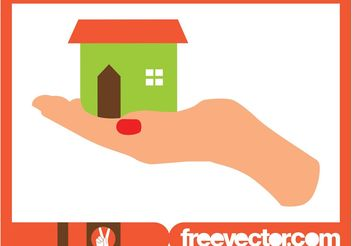 Hand Holding House - vector gratuit #161393