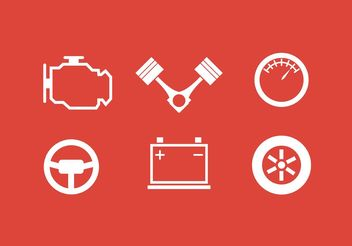 White Piston Engine Icon Collection - Free vector #161653