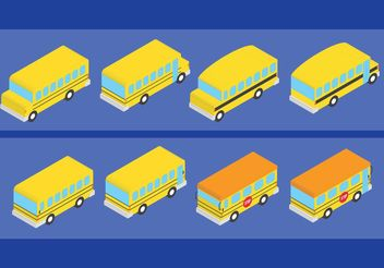 Isometric Style School Bus Vectors - бесплатный vector #162193