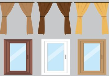 Free Vector Curtain and Windows - Free vector #162223