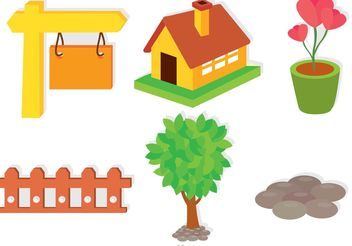 Set Of Garden Icons Vectors - Kostenloses vector #162263